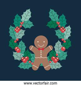 Coockie and wreath of Merry Christmas design