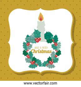 Candle and wreath of Merry Christmas design