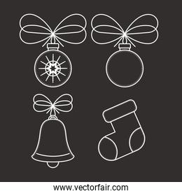 Spheres bell and boot decoration for Christmas season