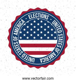 Isolated usa flag button of vote concept