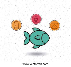 Isolated fish and pet icon set design