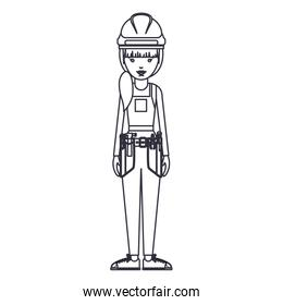 Isolated constructer woman cartoon design