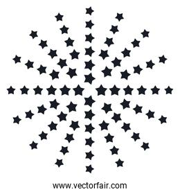 drawing of sun ray with stars