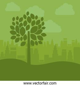 Tree plant with leaves design