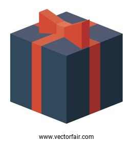 Isometric gift box with bowtie design