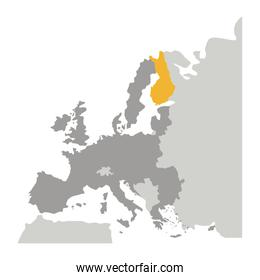 grayscale silhouette with europe map and finland in yellow color
