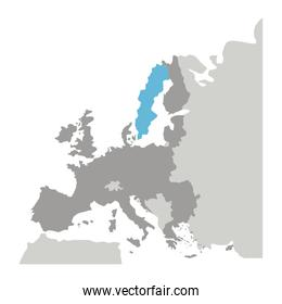 grayscale silhouette with europe map with norway and sweden in blue color