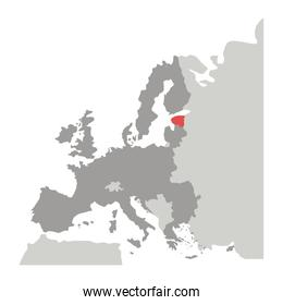 grayscale silhouette with europe map and estonia in red color