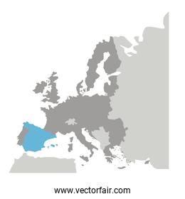 grayscale silhouette with europe map and spain in blue color