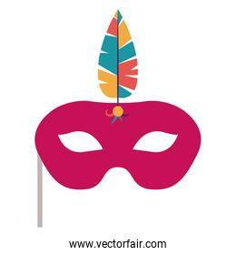Isolated mask with feather of celebration design