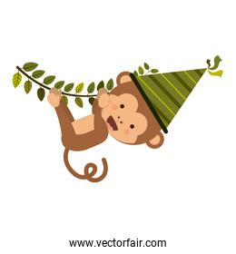 Monkey cartoon with party hat design