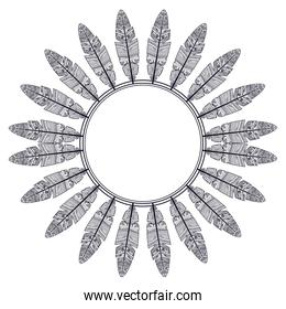 Isolated feather plume and circle design