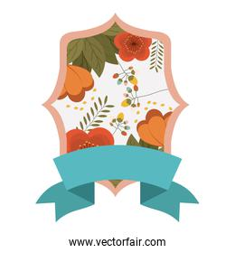 Isolated frame of flowers decoration design
