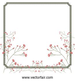 Isolated flowers frame decoration design