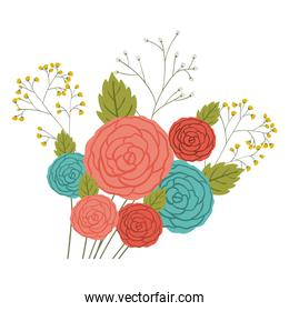 Isolated roses decoration design