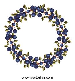 Blueberry fruit with leaves design