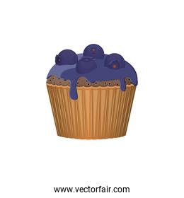 Isolated blueberry cupcake design