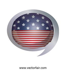 Isolated Usa flag inside bubble design