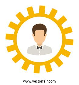 Isolated gear and businessman design