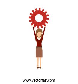 Isolated gear and businesswoman design