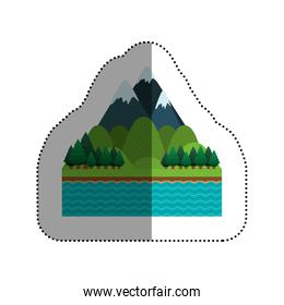 Isolated lake and pine tree design