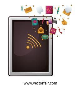 Isolated tablet and media icon design