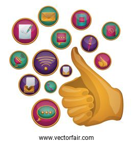 Thumbs up social media and multimedia design