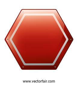 hexagon of road sign red