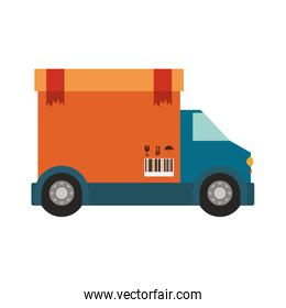 transport truck with vagon of sealed packaging tape in carton with box cover