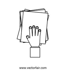 person hand with Pile of papers