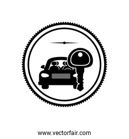 silhouette stamp with car and key