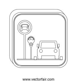 silhouette button parking area for vehicles with parking meter