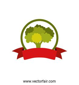 label silhouette colorful with broccoli