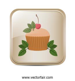 square button with cupcake and leaves