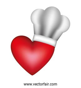 realistic silhouette of chefs hat with heart