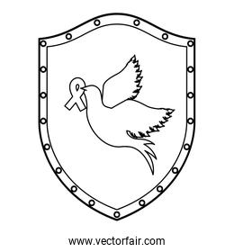 Dove with peace ribbon
