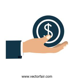 colorful silhouette with right hand hold round money symbol