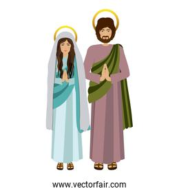 picture colorful virgin mary and saint joseph praying