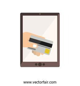 tablet with display with credit card in hand