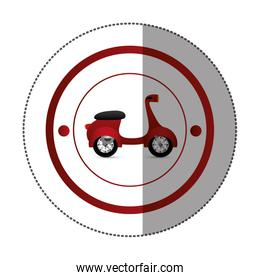 sticker with circular shape with colorful scooter