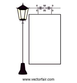 Empty frame with street light ornament