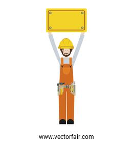 worker with toolkit and plaque up