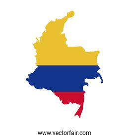 map with colors colombian flag