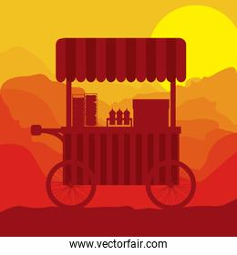 sunset background hot dogs food truck