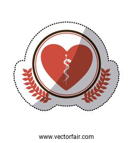 color sticker of heart with health symbol with serpent entwined in circle with olive branchs