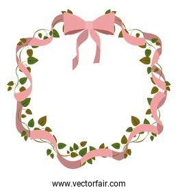 pink ribbon flowers knot love icon