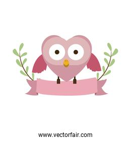 pink bird shaped heart and ribbon frame