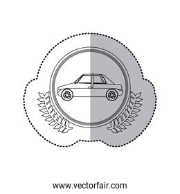 sticker monochrome half shadow and car in round frame with crown of leaves
