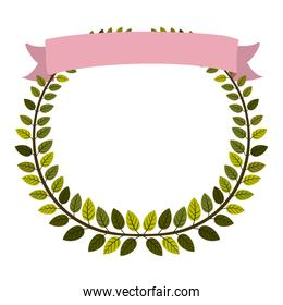 border of leaves with pink label
