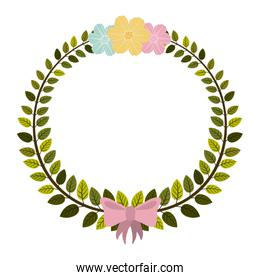 border of leaves with pink bow and flowers